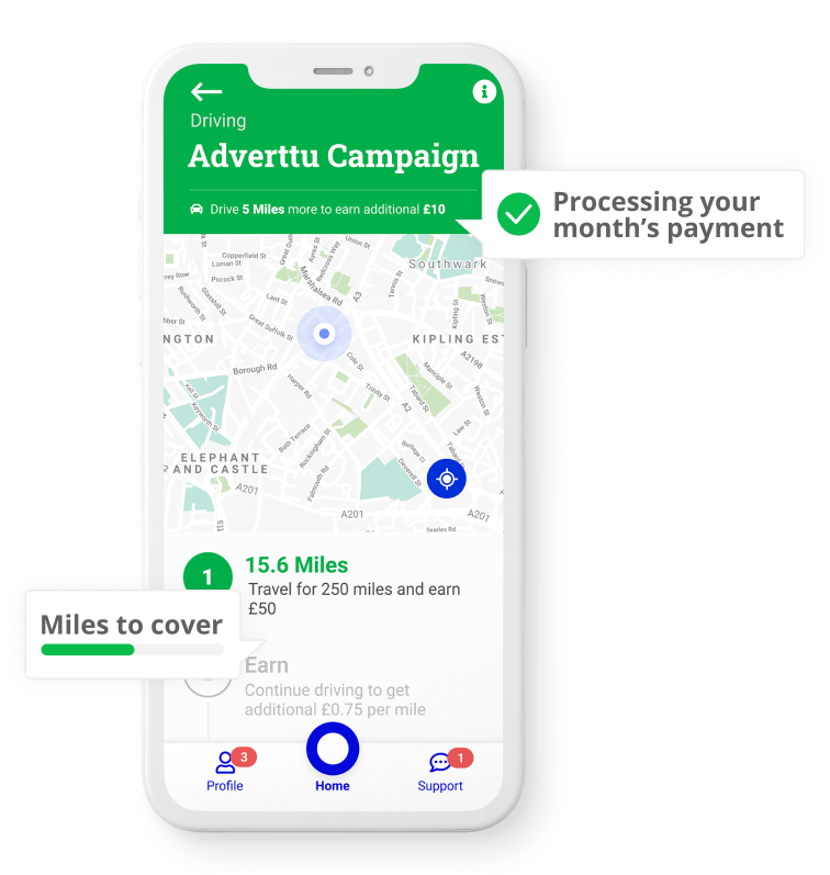 An image showcasing the Adverttu Campaign Screen on a mobile phone